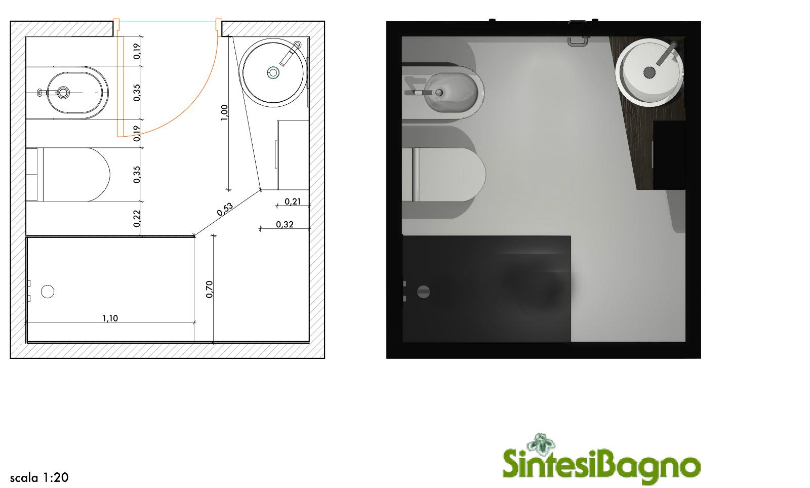 Rendering revolution progetto rendering per un bagno piccolo - Bagno piccolo dimensioni minime ...