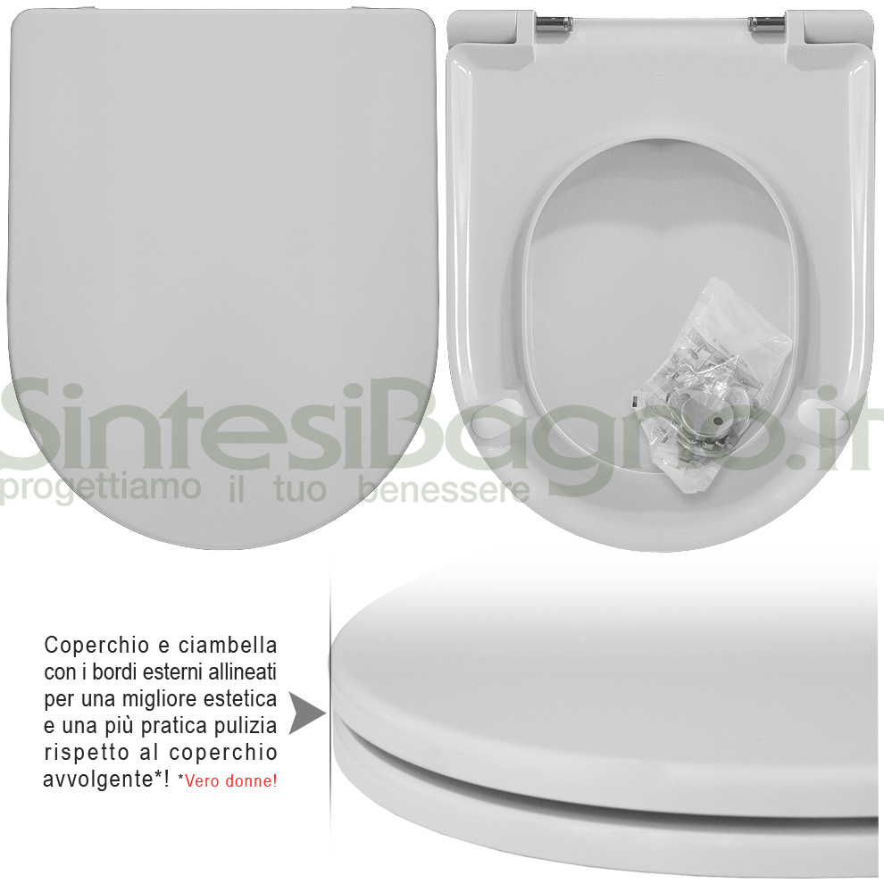 Copriwater DEDICATO vaso GLOBO serie ALIA serie PLUS | Cerniere rallentate / Soft Close