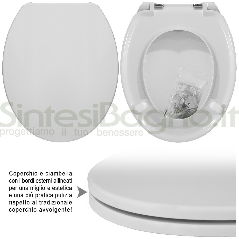 Copriwater DEDICATO vaso FLAMINIA serie NORI linea PLUS | Cerniere acciaio inox rallentate / Soft Close
