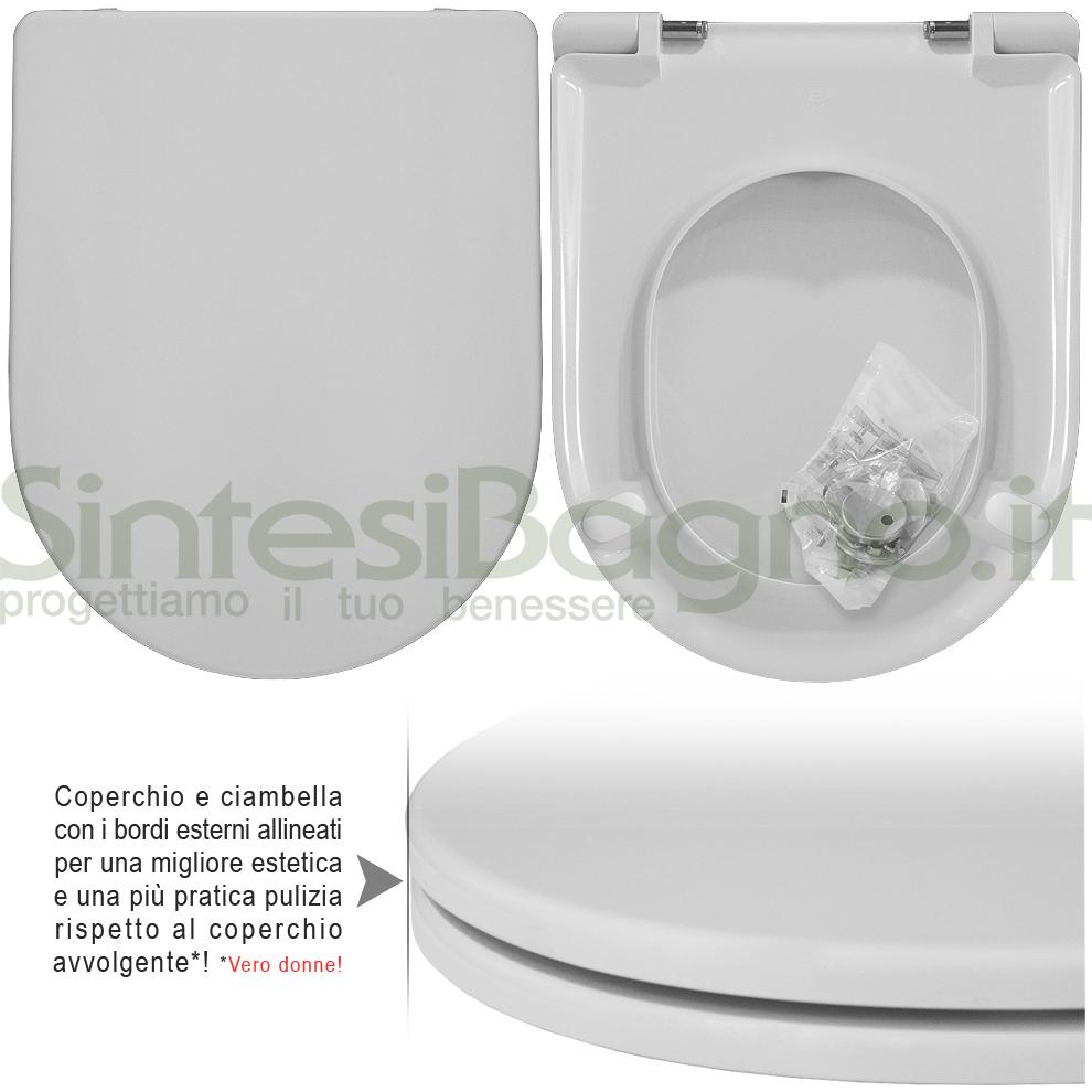Copriwater DEDICATO vaso GLOBO serie OPEN SPACE CONCEPT 49 / 57 / 69 Monoblocco linea PLUS | Cerniere acciaio inox rallentate / Soft Close
