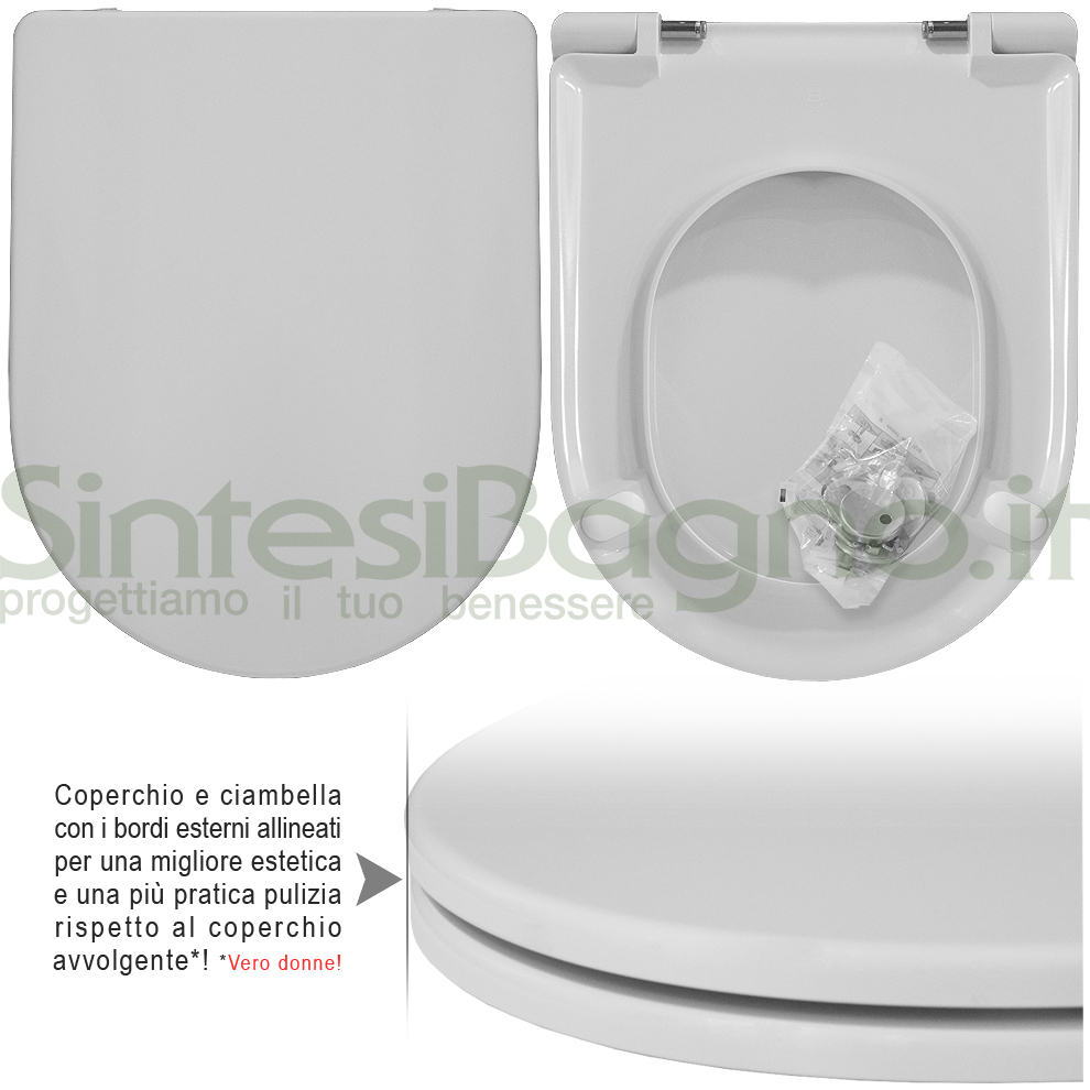 Copriwater DEDICATO vaso FLAMINIA serie QUICK/QUICK SOSPESO linea PLUS | Cerniere acciaio inox rallentate / Soft Close