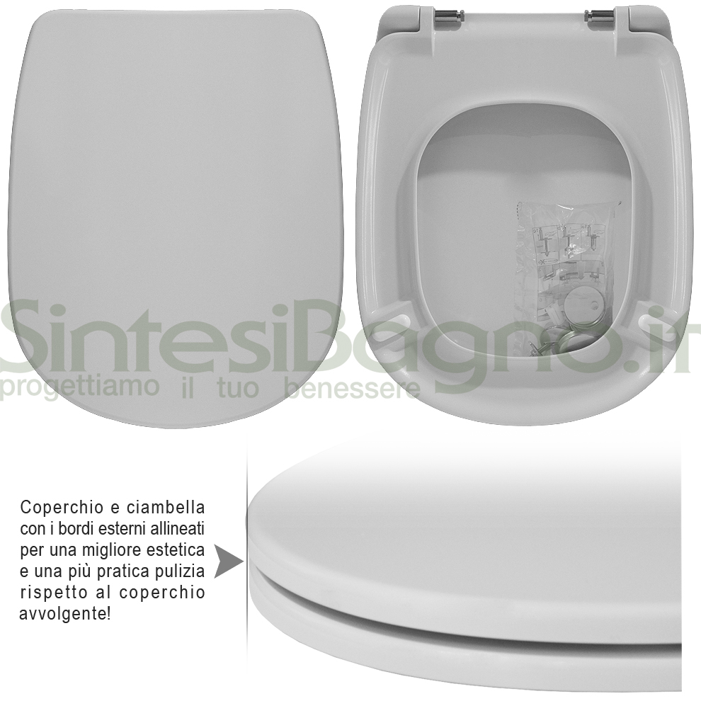 Copriwater DEDICATO vaso SENESI serie PIENZA linea PLUS | Cerniere acciaio inox rallentate / Soft Close