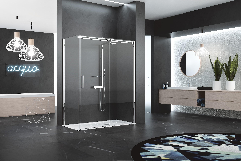DIAMANTI 2P + F - Box doccia con porta a due ante, 1 scorrevole + 1 fissa + parete fissa laterale