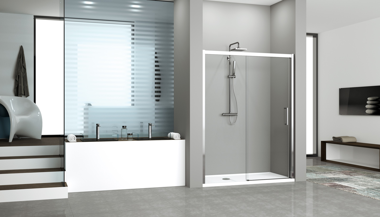 Kuadra 2P / Porta doccia a 2 ante, 1 scorrevole + 1 fissa