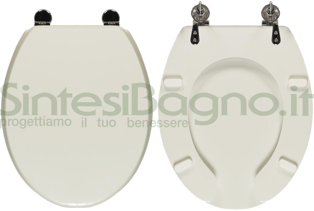 Copriwater > DISABILI > STORM ST13722/ST13723 > Legno rivestito / Ottone cromato > Bianco